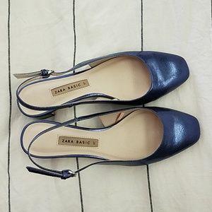 Zara blue slingback kitten block heel shoes 37